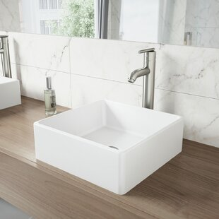 Save Vigo Matte Stone Square Vessel Bathroom Sink