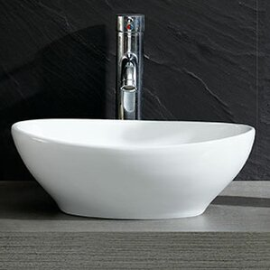 Modern Vitreous Bulging Oval Vessel Bathroom Sink