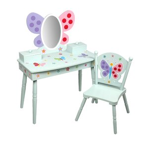 Olive Butterfly Garden Kids Vanity Set With Mirror
