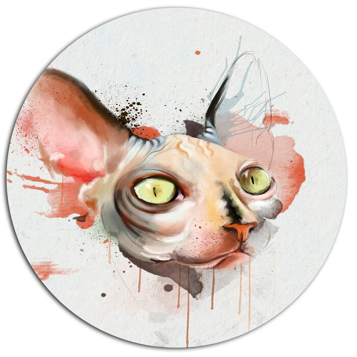 'Red Faced Cat Watercolor Sketch' Oil Painting Print on Metal