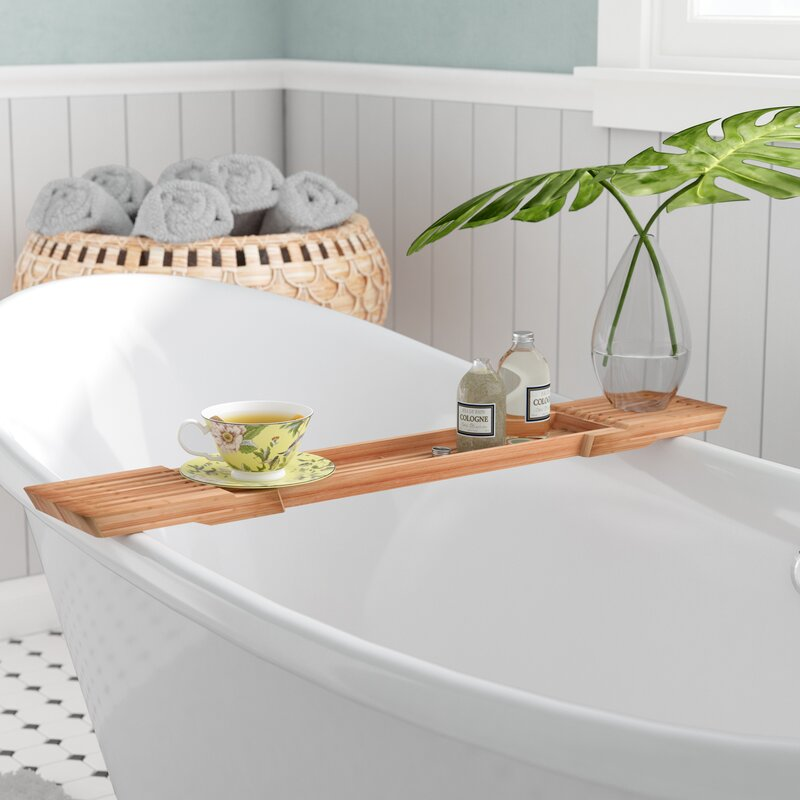 Mistana Shayna Adjustable Bamboo Bath Caddy & Reviews | Wayfair