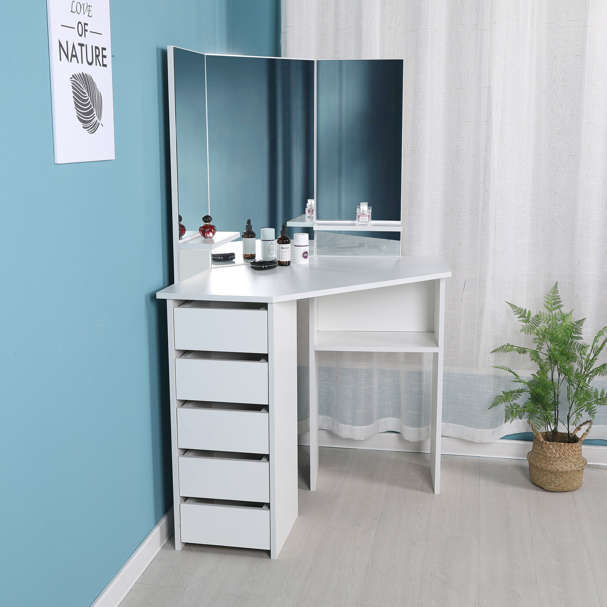 cormier corner makeup vanity with mirror