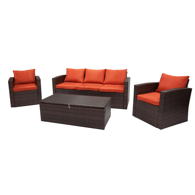 Arlington 4 Piece Rattan Sofa Seating Group With Cushions Reviews