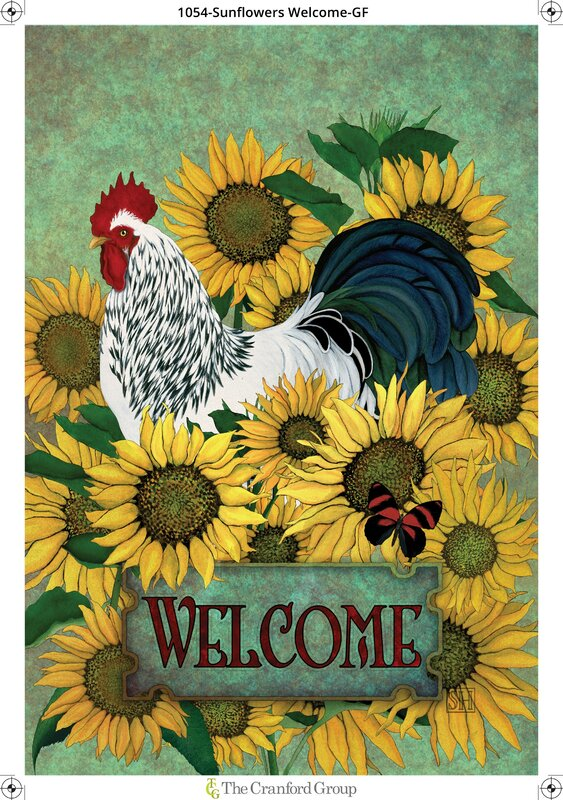 Welcome Among The Sunflowers Garden Flag