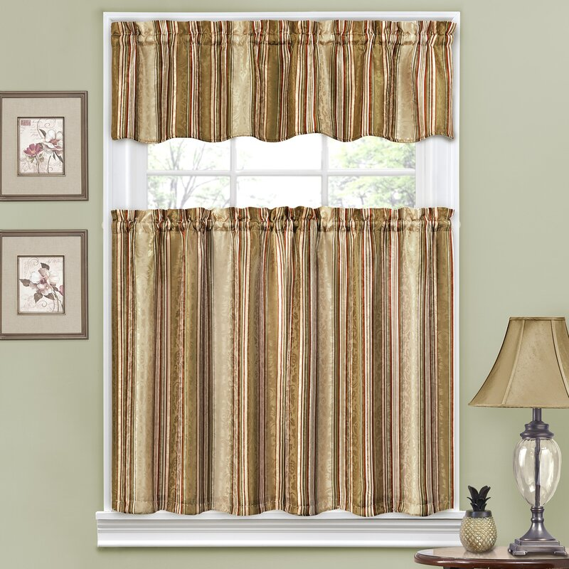 Traditions By Waverly Stripe Ensemble 52 Quot Valance And Tier