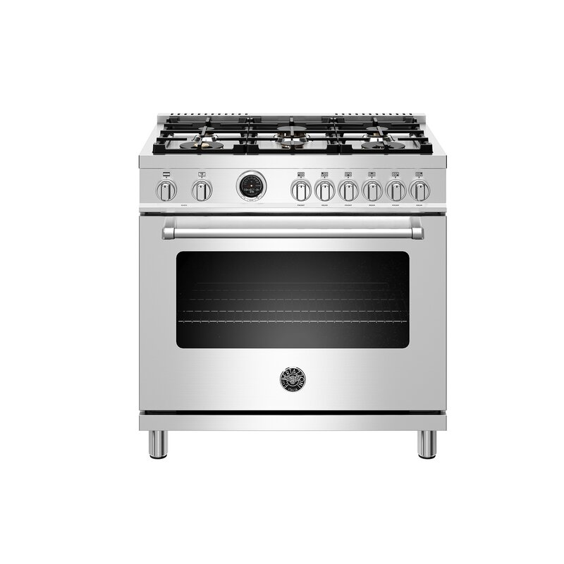 """Bertazzoni Master Series 36"""" Free-standing Dual Fuel Range with Griddle"""