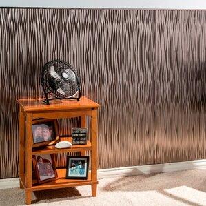 waves vertical 4u0027 x 8u0027 pvc backsplash panel in brushed nickel