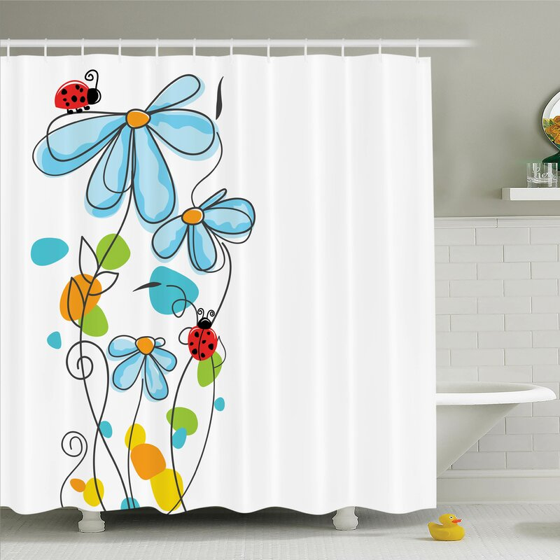 Zoomie Kids Lizbeth Cartoon Ladybugs Flowers Shower Curtain Set ...