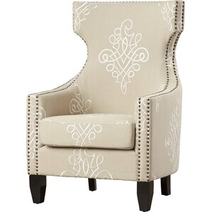 Benedita Embroidered Linen Wingback Chair by Willa Arlo Interiors