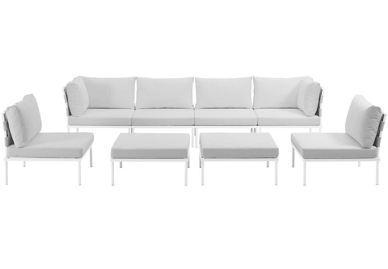 Brayden Studio Darnell 8 Piece Outdoor Patio Aluminum Sectional Sofa ...
