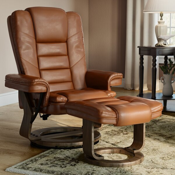 Charlton Home Albury Manual Swivel Recliner With Ottoman
