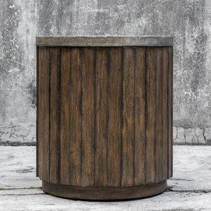 Florentine Wooden Drum End Table by Loon Peak