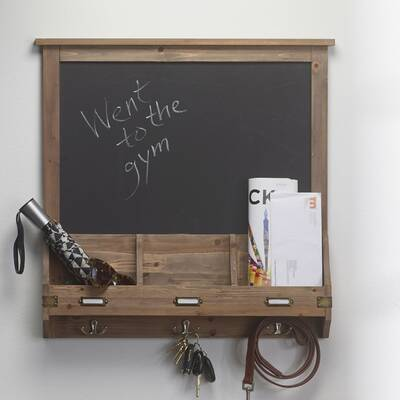 Stallard 24 X 35 Decorative Rustic Wood Home Organizer Chalkboard