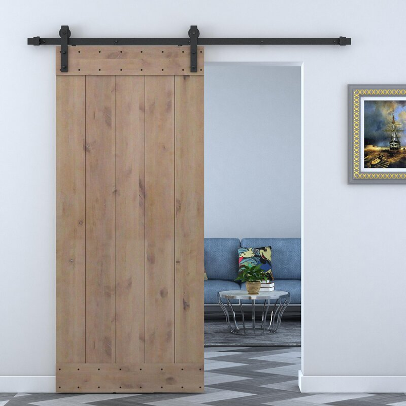 Calhome Solid Wood Panelled Alder Interior Barn Door & Reviews | Wayfair
