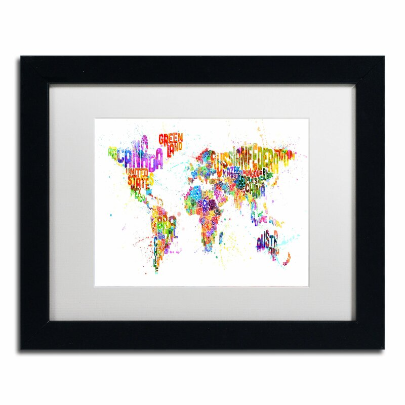 Trademark art 39paint splashes text map of the world39 by for Kitchen colors with white cabinets with kids world map wall art