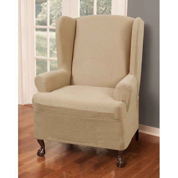 Three Posts Stretch One Piece Wing Chair T Cushion Slipcover U0026 Reviews |  Wayfair