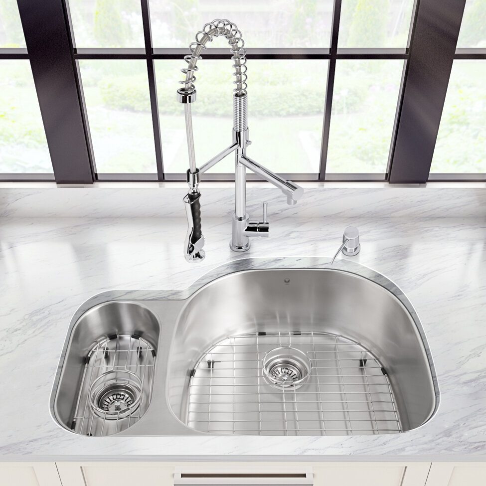 Vigo 32 Inch Undermount 80 20 Double Bowl 18 Gauge Stainless Steel Kitchen Sink With Zurich Chrome Faucet Grid Two Strainers And Soap Dispenser Wayfair