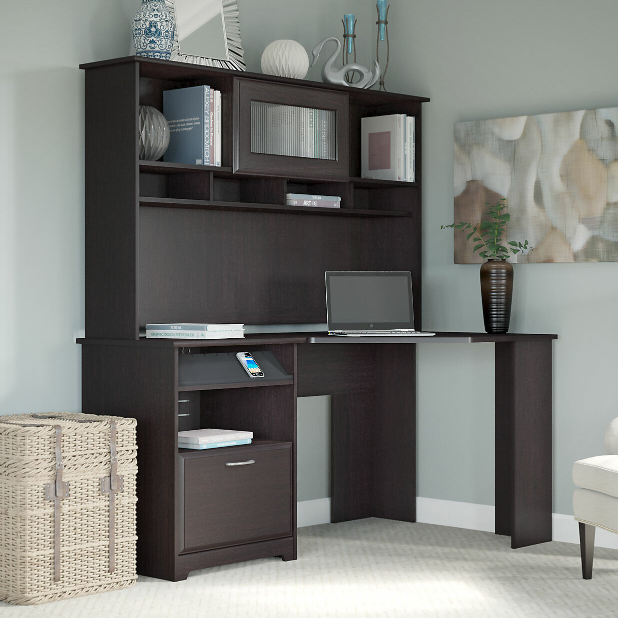 hutch shaped with corner drawers raw bestar and connexion l b office desk home small