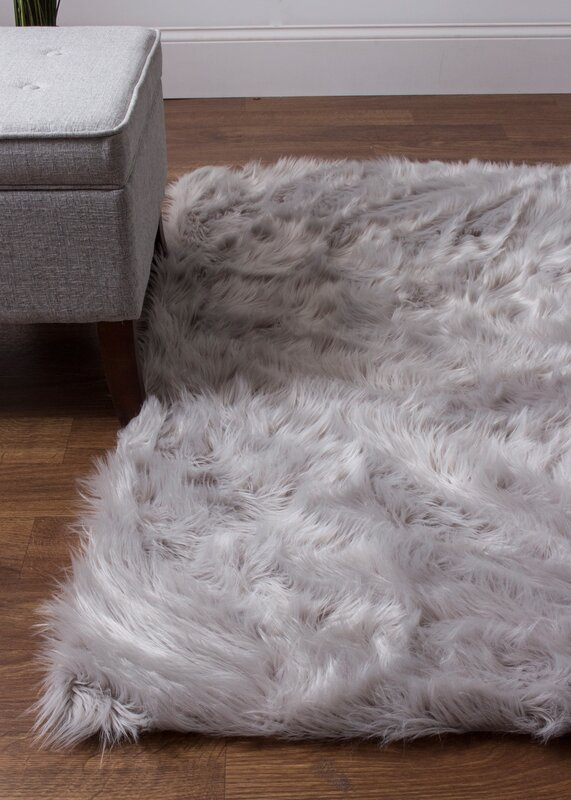 Charlotte Hand Woven Faux Sheepskin Gray Area Rug