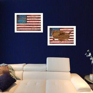 cbfda597360a  American Flags  2 Piece Framed Graphic Art Print Set