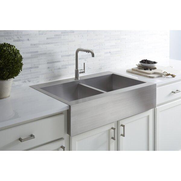 "Kitchen Enchanting Kohler Farmhouse Sink For Your Modern: Kohler Vault 35-3/4"" X 24-5/16"" X 9-5/16"" Top Mount Double"