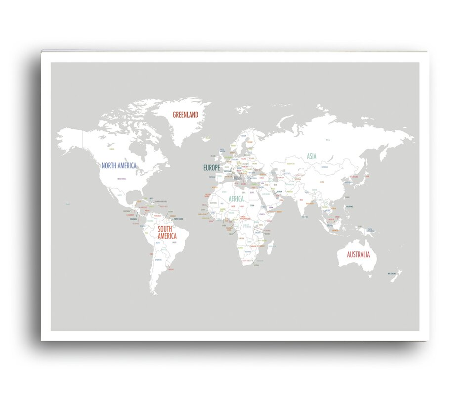 Global Artisan Kids Collection World Map Graphic Art on Wrapped