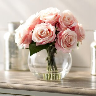 Rose artificial flowers youll love wayfair roses in glass vase mightylinksfo