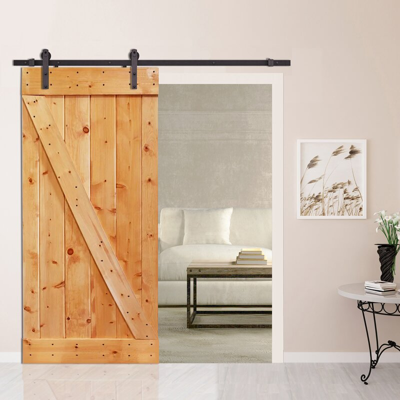 Z Bar Solid Wood Room Divider Pine Slab Interior Barn Door