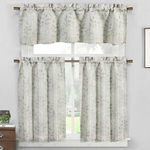 Fidelia 3 Piece Floral Jacquard Kitchen Curtain Set