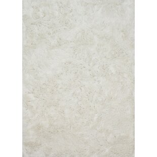 Inexpensive Elliana Shag Hand-Tufted White Area Rug By House of Hampton