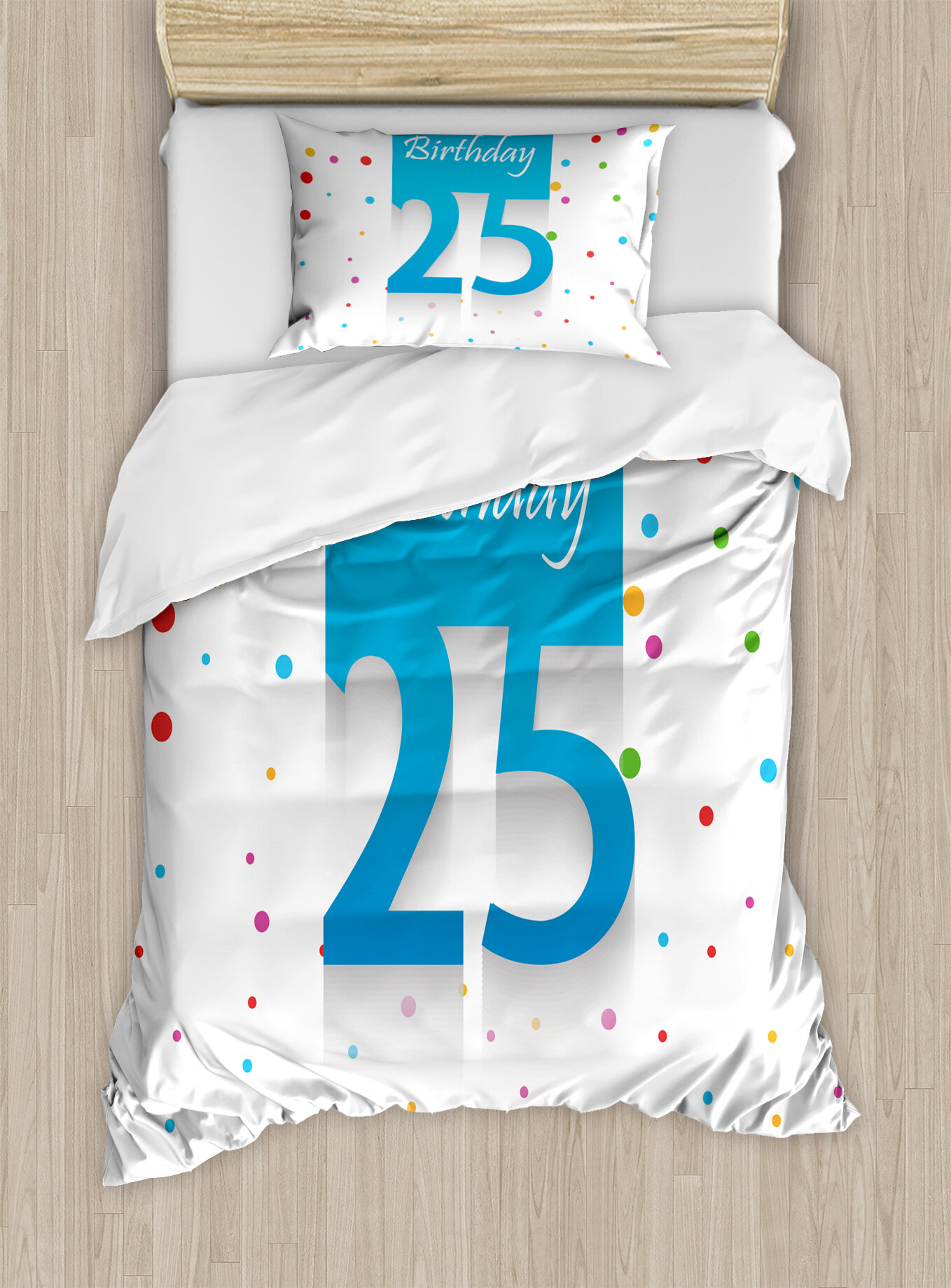 Ambesonne 25th Birthday Decorations Duvet Set