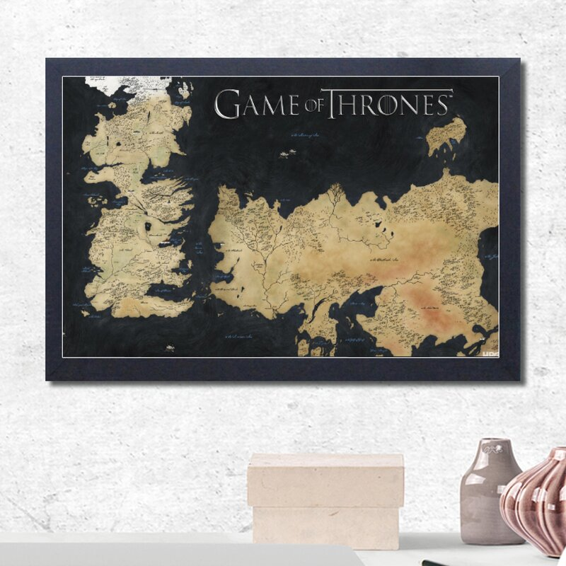 photo relating to Free Printable Map of Westeros known as Activity of Thrones-Map of Westeros and Essos Framed Picture Artwork Print