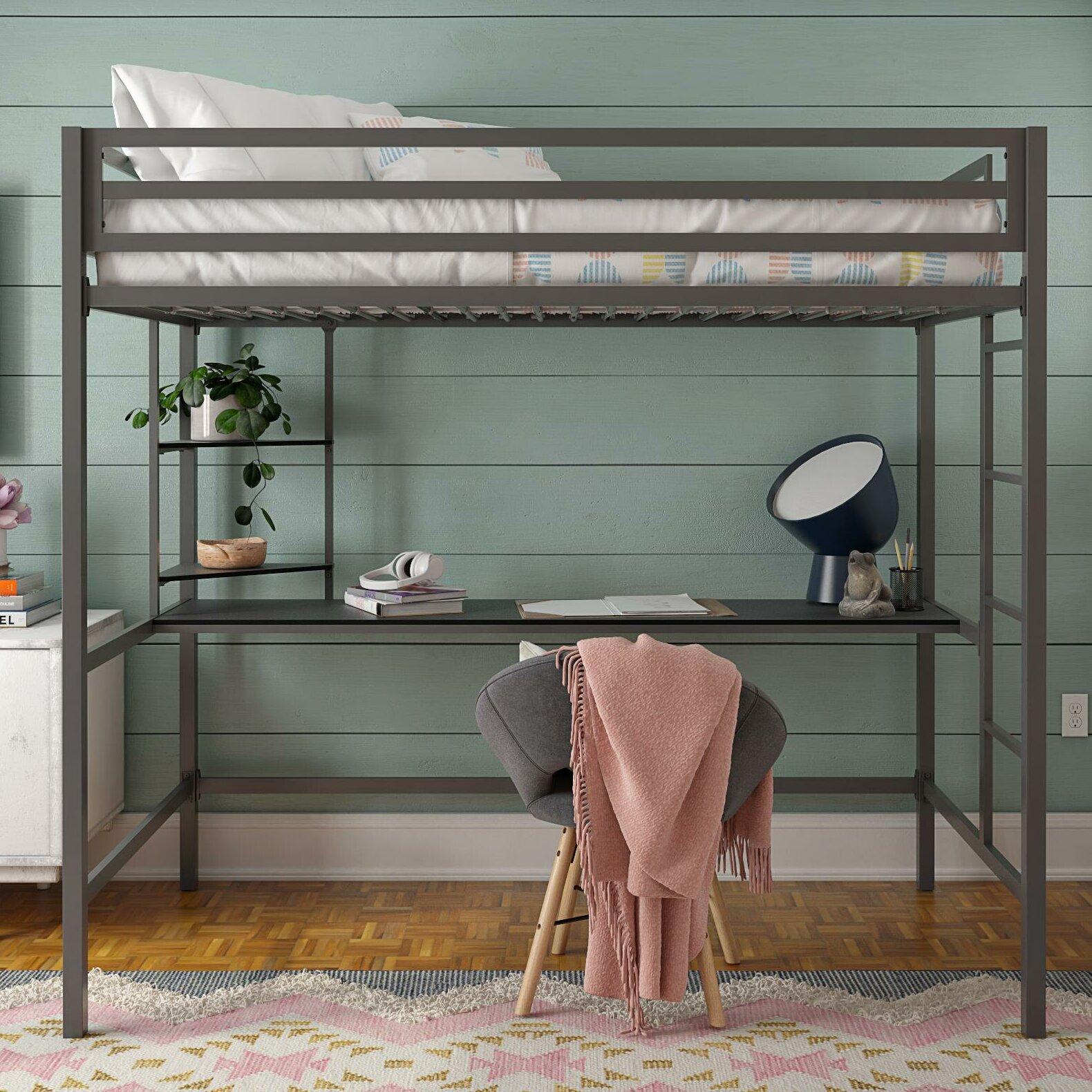 Wayfair & Maxwell Metal Loft Bed with Shelves
