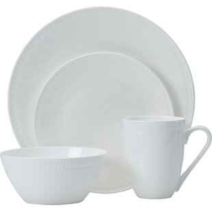 Loria 16 Piece Bone China Dinnerware Set Service for 4  sc 1 st  Wayfair & White China Dinnerware | Wayfair