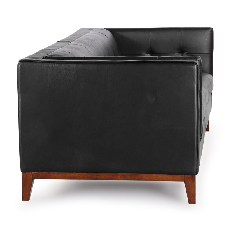 Harrison Mid Century Modern Loft Leather Chesterfield Sofa