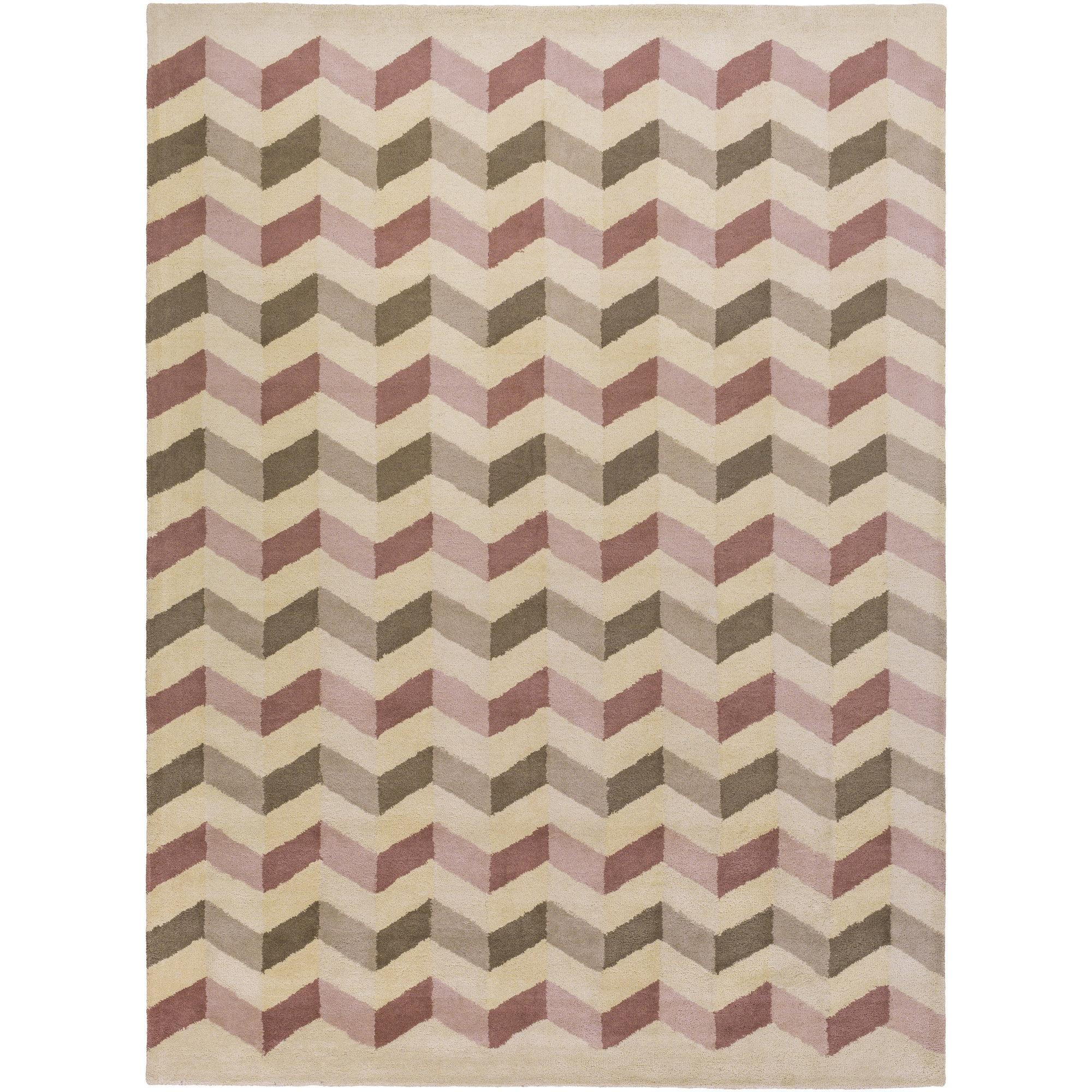 Brayden Studio Sevin Hand-Tufted Wool Pink Area Rug