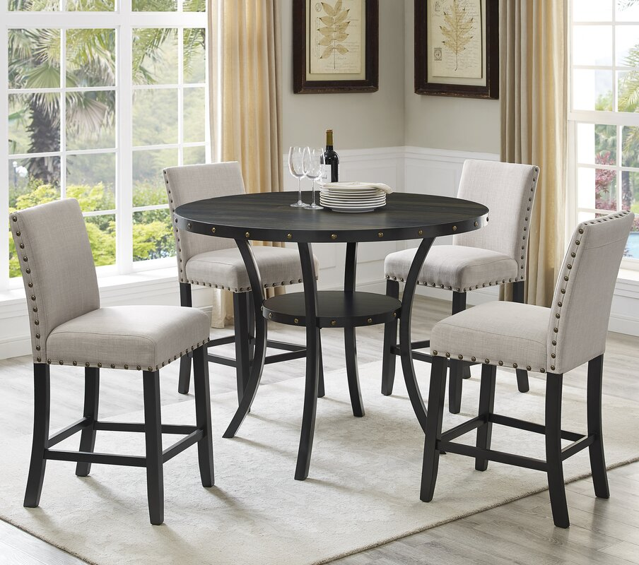 Roundhill Furniture Biony Espresso Wood 5 Piece Dining Set ...
