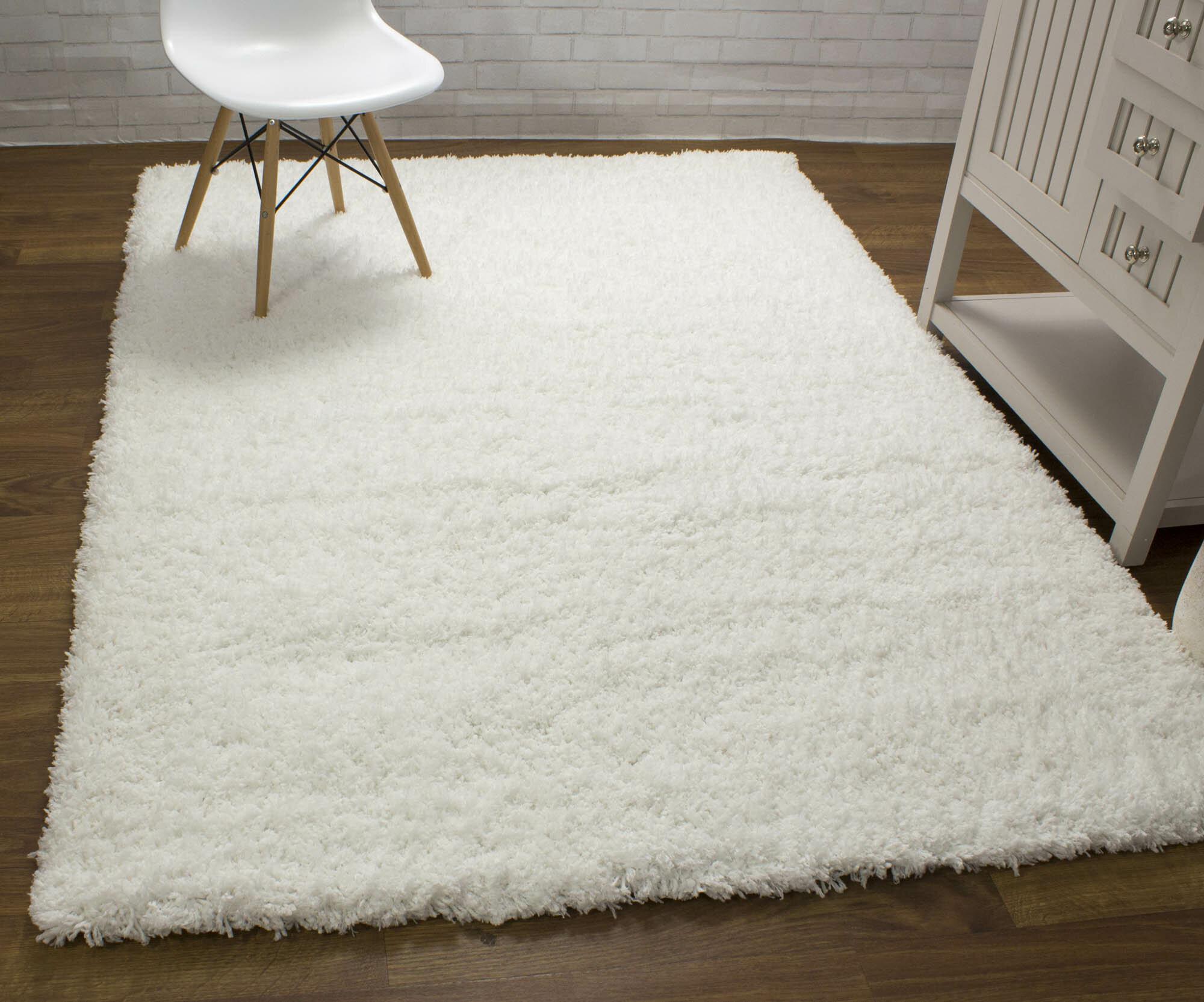 Harriet Bee Ambriz Microfiber Ultra Soft Shag White Area Rug & Reviews   Wayfair