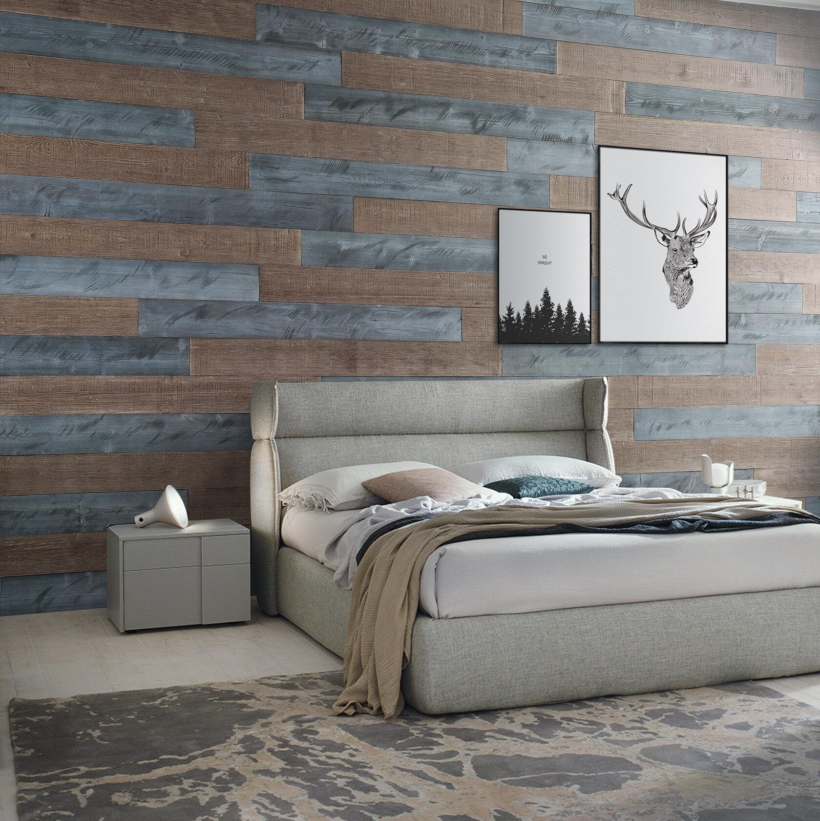 Woodywalls 5 Solid Wood Wall Paneling In Natural Gray Warm Sand Wayfair