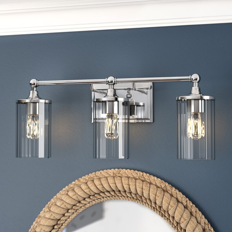 Beachcrest Home Hague 3 Light Vanity Light With Clear
