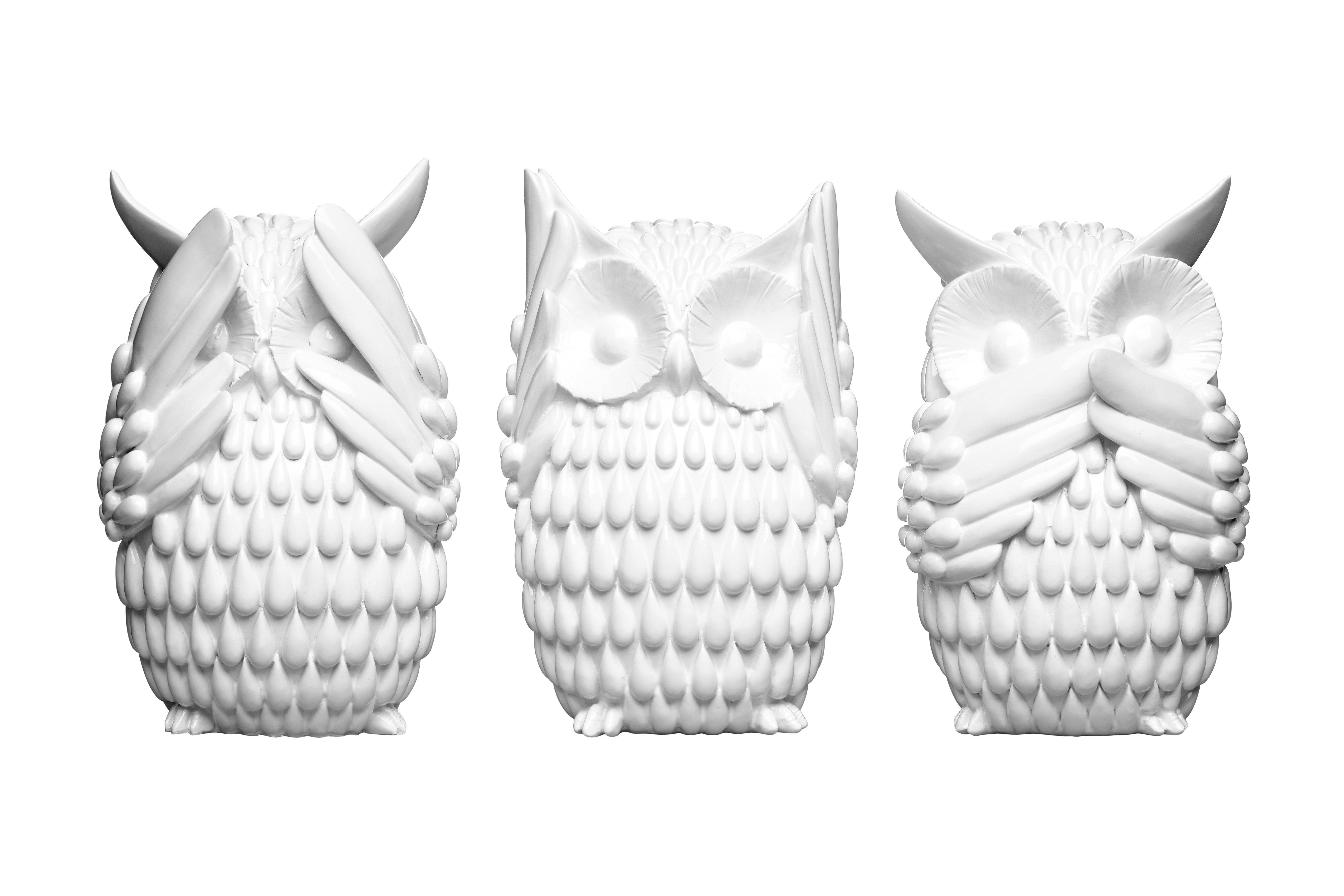 Owls Polyresin 3 Piece Sculpture Set