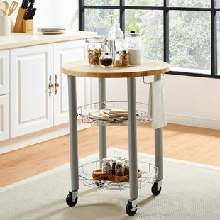 Amol Kitchen Cart With Solid Wood Top