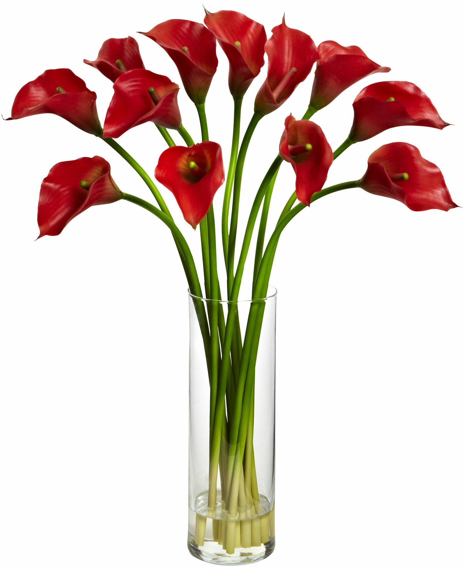 Latitude Run Mini Calla Lily Silk Flower Arrangement With Vase