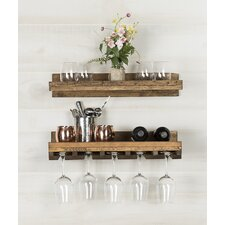 alverta rustic wall mounted wine glass rack set of 2