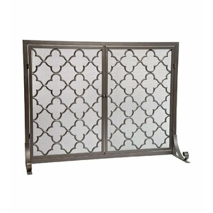 Geometric Single Panel Steel Fireplace Screen