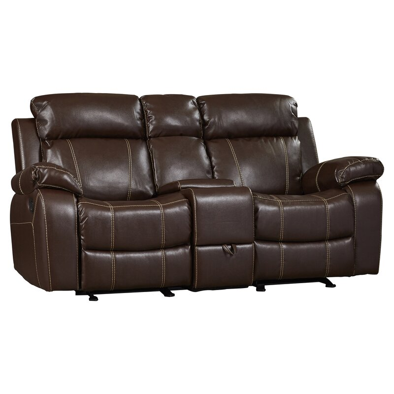 Darby Home Co Chestnut Double Gliding Reclining Sofa