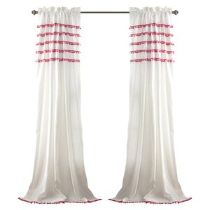 Devin Striped Sheer Rod Pocket Single Curtain Panel