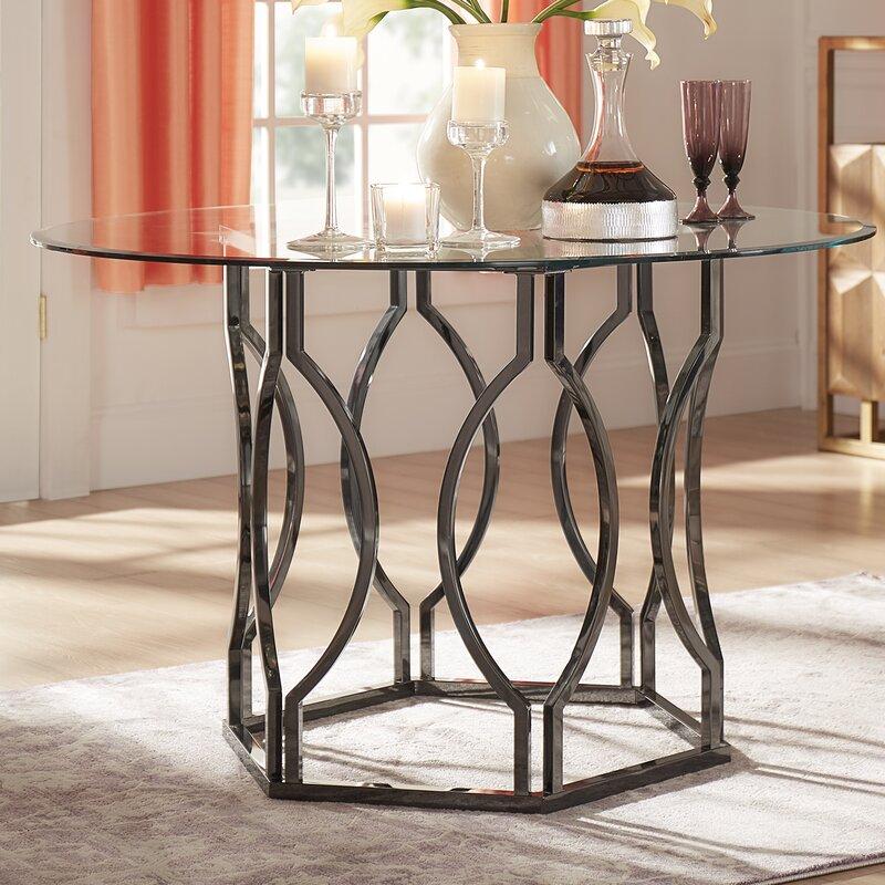Willa Arlo Interiors Affric Glass Dining Table Reviews Wayfair