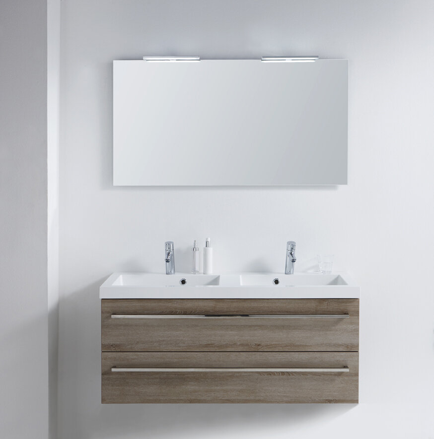 Limited edition 105cm wall mounted double basin vanity unit