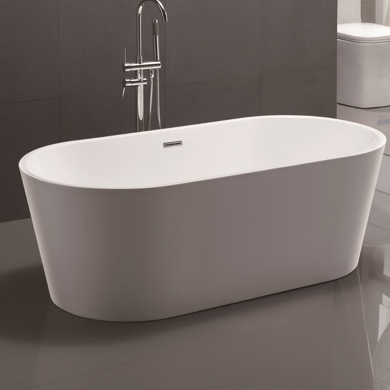 Vanity art 59 x 29 5 freestanding soaking bathtub for Standard size of freestanding bathtub